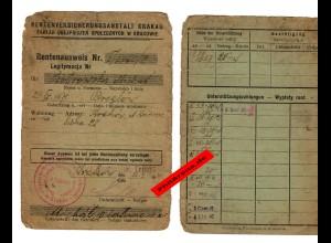 GG: Rentenausweis, Krakau 1940