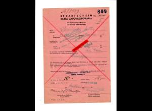 GG: Bedarfsschein für Spinnstoffwaren, Krakau 1941, Geprüft Wirtschaftsamt