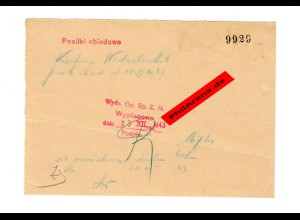 GG: Mittagessen - ausbezahlt - 1943: Bestätigung