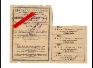 GG: Gesundheitskammer: Zuteilungskarte für Ärzte: Waschpulver/Seife 1944