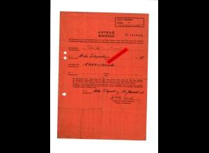 GG: Antrag für Bedarfsschein für ein Paar Schuhe: Krakau/Krzezowice 1941