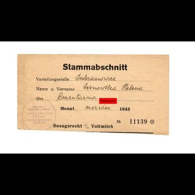 GG: Bezugsrecht für 1/4 Liter Vollmilch 1943, Skala / Imbramowice