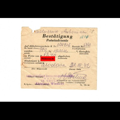 GG: Bestätigung Ablieferung Kartoffeln Wlodawa 1942 / Cholm