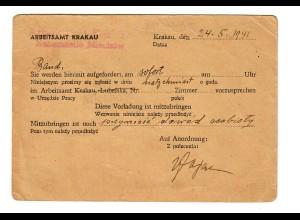 GG: Postkarte Arbeitsamt Krakau/Mischow 1941, Aufforderung vorzusprechen
