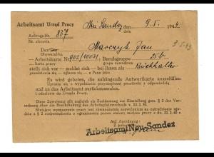 GG: Postkarte Arbeitsamt Neu Sandez 1944; Vorstellung für Stelle Buchhalter