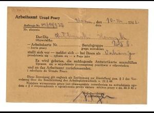 GG: Postkarte Arbeitsamt Warschau 1941: Vorstellung für eine Stelle