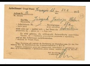 GG: Postkarte Arbeitsamt Tomaszow-Lub 1942: Vorstellung als Sekretärin