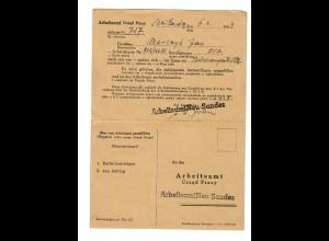 GG: Doppel Postkarte Arbeitsamt Neu Sandez 1944: Vorstellungsgespräch