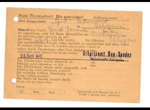 GG: Dokument Arbeitsamt Neu Sandez 1941: Vorstellungsgespräch Praktikantin