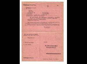 GG:Blanko Doppel-Postkarte Arbeitsamt mit Aufforderung zur Vorstellung/Zuweisung