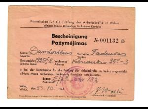 GG: Bescheinigung Kommission für Prüfung der Arbeitskräfte in Wilna 1943