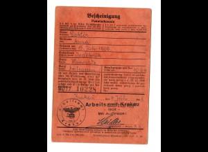 GG: Arbeitsamt Krakau 1941: Jzdebnik/Wadowitz, Bescheinigung