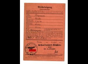 GG: Arbeitsamt Krakau 1941: Betriebsassistent Lemberg