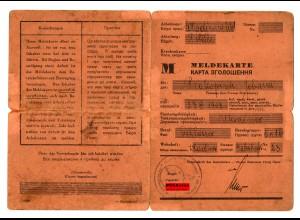 GG: Meldekarte Arbeitslose - M: Schlosser Wladimir 1941-1944