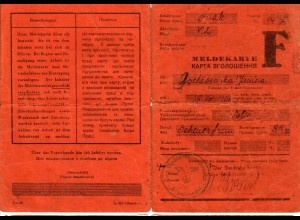 GG: Meldekarte Arbeitslose - F: Scheuerfrau Luzk, Kiwcrke 1943