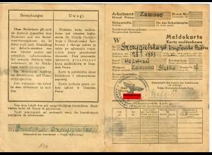 GG: Meldekarte -W- Arbeitsamt Zamosc, Hausfrau 1944