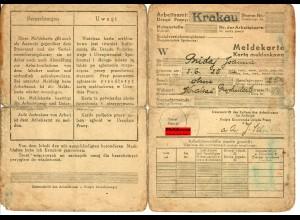 GG: Meldekarte -W- Arbeitsamt Krakau - ohne Beruf - 1942