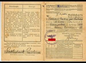 GG: Meldekarte -W- Arbeitsamt Krakau Büroangestellte, 1942