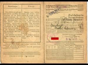 GG: Meldekarte Arbeitsamt Krakau, Duplikat, Bürokraft 1941
