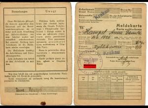 GG: Meldekarte -W- Arbeitsamt Krakau, Kein Beruf, Zyblikiewierca 1942