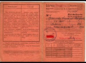 GG: Meldekarte -W- Arbeitsamt Krakau, Packerin 1942