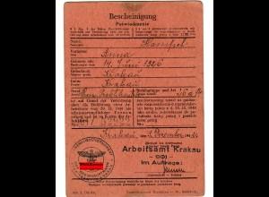 GG: Bescheinigung Arbeitsamt Krakau, Chemische Praktikantin 1942