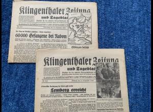 GG: 2x Klingenthaler Zeitung: 13./14. September 1939