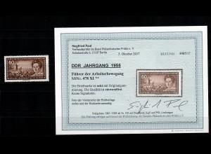 DDR MiNr. 478 XI, postfrisch, **, Führer der Arbeiterbewegung, BPP Befund