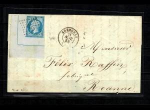 France: 1853 Napoleon 20C blue, Type I, corner Nr. 1452 on letter Grenoble