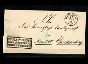 1886 Aversbrief Königl. Directorim Militär Waisenhaus Berlin nach Charlottenburg