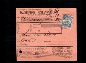 DSWA: Nachnahme Postanweisung Keetmanshoop nach Swakopmund, seltenes Formular