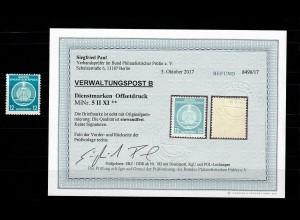 DDR Verwaltungspost B, Dienstmarke MiNr. 5 II XI, ** postfrisch, BPP Befund