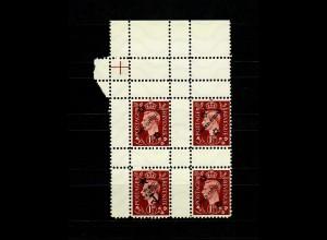Deutsche Fälschungen für GB Zusammendruck MiNr. 11IIa, 2x 11IIb, 11IIc, Leerfeld