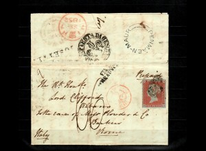 GB 1841: # 3 II a, SG 8, Lord Clifford correspondence to Italy, scarce usage