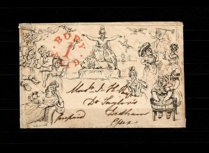 GB 1840: Political caricature envelope by Southgate Library, to Dedham, Essex