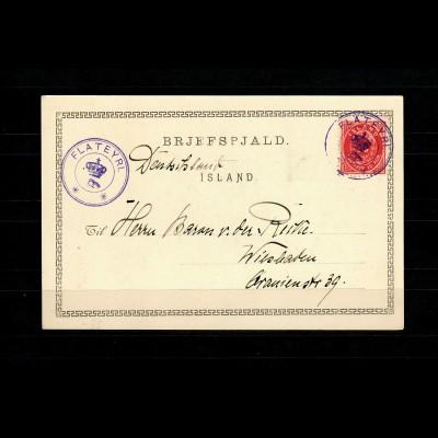 Iceland 1900: photo picture card Flateyri to Wiesbaden, Geysir
