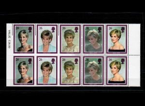 GB: DIANA 1997, block of ten, part imperf with margins on two sides, scarce, **