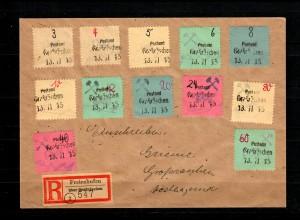Lokalausgabe Grossräschen MiNr. 1-12 auf R-Brief Freienhufen