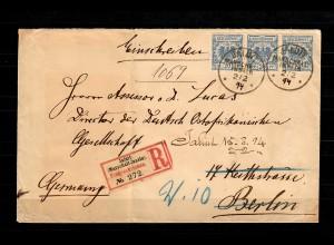 Marschall-Inseln 1890/1900 waagr. 3er Streifen, R-Brief Jaluit nach Berlin