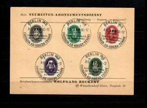 DDR MiNr. 261-270, Luxus Stempel Berlin 1950 auf Karten