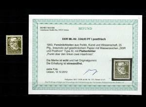 DDR MiNr. 334xXI PF I, postfrisch, **, Plattenfehler