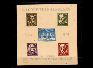 SBZ Thüringen MiNr. Block 3 B ya FII/III, Plattenfehler, *, BPP Attest
