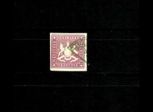 Württemberg MiNr. 42 b, Bogenfeld 4, grüner Fächerstempel Stuttgart, BPP Attest
