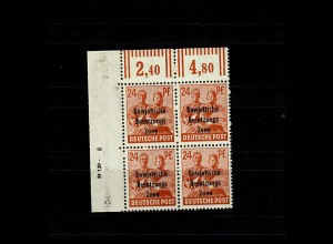 SBZ MiNr. 190 DV im 4er Block vom Eckrand mit Druckvermerk