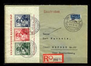 BiZone: MiNr. Block 1 auf Einschreiben Hannover nach Wenden