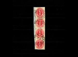 Schleswig-Holstein MiNr. 8, 4er Streifen, Briefstück