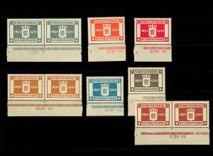 Württemberg: MiNr. 123-129, postfrisch, **, komplett mit HAN Nummer