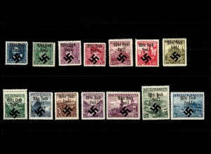 Mährisch-Ostrau: MiNr. 6-19, *, Falzspur, mit 6-13I, 14II, 16-19I