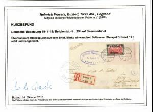 DR: MiNr. 25I, Eckrand, auf R-Brief Brüssel nach Zeitz, Zensur, seltener Stempel