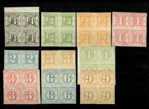 Thurn & Taxis: MiNr. 45-54, postfrisch, ** im Viererblock
